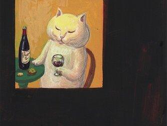 カマノレイコ オリジナル猫ポストカード「夜のひととき」2枚セットの画像