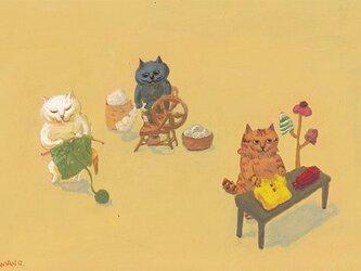 カマノレイコ オリジナル猫ポストカード「羊毛」2枚セットの画像