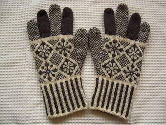◆◇花と雪模様の編み込み手袋◇◆(アンスラサイト)の画像