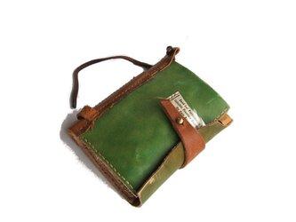 book wallet 古書風 黄緑の画像