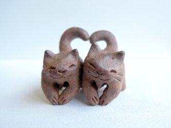 ハートちび猫=^人^=こげ茶猫2の画像