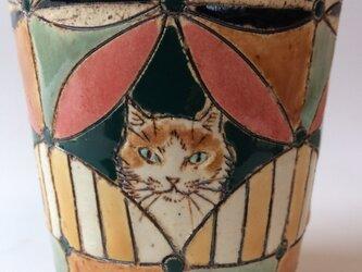 猫カップ ・ちょい大きめピンクの画像