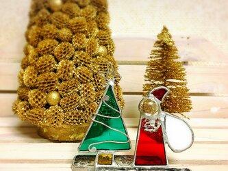 ★SALE★ 3500円→3150円 ガラスのクリスマス ステンドグラス クリスマス サンタ&ツリーの画像