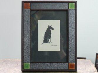 七宝焼と銅板のフレーム(茶・緑)の画像