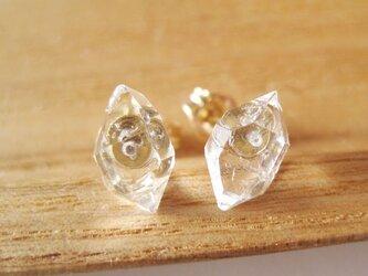 ダイヤモンドクォーツの原石ピアス/Pakistan/Diamond Quartz 14kgf[171101]の画像