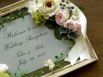 ウェルカムボード(アンティーク ホワイトフレーム&ホワイト&ピンクフラワー)結婚式 ウェディングボード  / 受注製作の画像