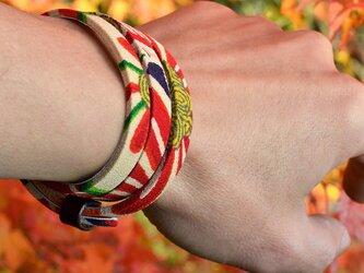 和風ブレスレット お祝い 橙  レザー 3連 Triple braceletの画像