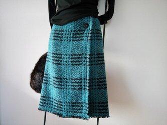 ★秋冬新作★60~68㎝★ヒュッゲ★大きなツィード巻きスカート風★家姫スカート(10)青緑★の画像