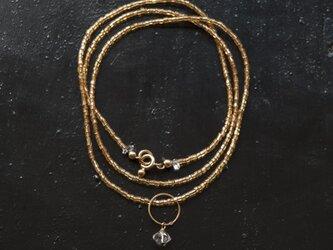 フランスヴィンテージゴールドビーズと水晶×リングのシンプルで落ち着いたネックレス(TJ10931)の画像