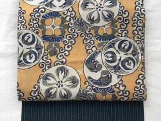 鶴丸紋の和更紗 名古屋帯の画像
