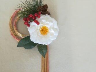 【再々販】【送料無料】白椿と桃色水引のお正月飾りの画像