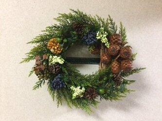 ドライとアーティフィシャルがコラボした森のクリスマスリースの画像