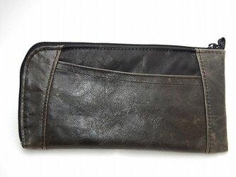 ハーフラウンド型 長財布(ムラ染め濃グレー)の画像