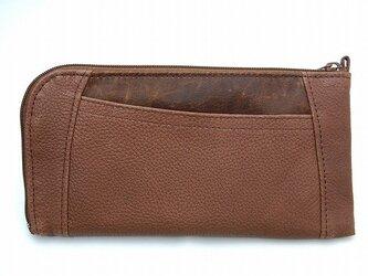 ハーフラウンド型 長財布(シュリンク ブラウン)の画像