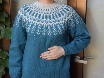 SALE ブルーグリーンのラインセーターの画像