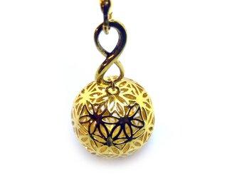 フラワーオブライフ(籠目)・メビウスの輪 ストラップ(金色)の画像