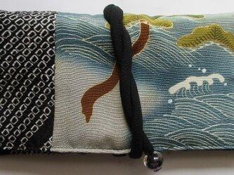 送料無料 絞りと泥染の留袖で作った和風財布・ポーチ 3135の画像