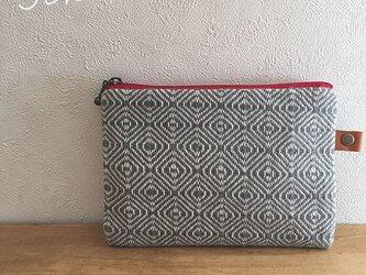 pouch[手織り小さめポーチ]グレーの画像
