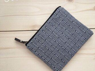 再販 pouch[手織り小さめポーチ]ブルーグレー×ブラックファスナーの画像