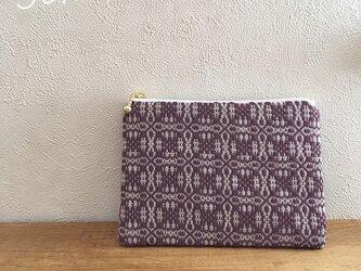 pouch[手織りミニポーチ]ワインレッド×ホワイトファスナーの画像