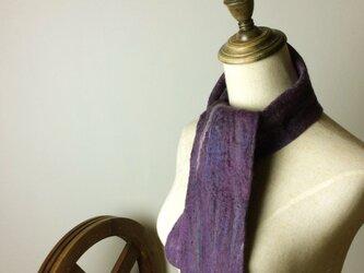 紫ミックスの細いフェルトマフラーの画像