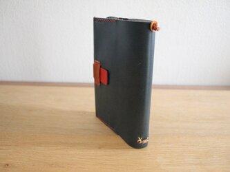栃木レザー 手縫いのブックカバー (ブルー)の画像