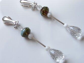 【silver925】水晶とチェコビーズのイヤリングの画像