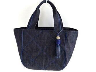コロンとたっぷり大きめキルティングトートバッグ・インディゴ×藍色の画像
