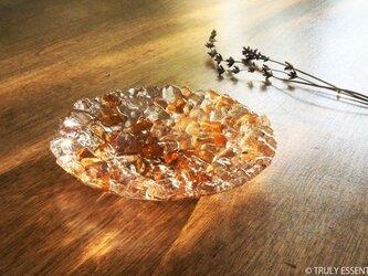 ガラスのアクセサリートレイ - 「 KUBOMI 」● アプリコット・11cmの画像