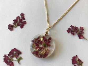 本物のお花 赤そばのイニシャル入りネックレスの画像