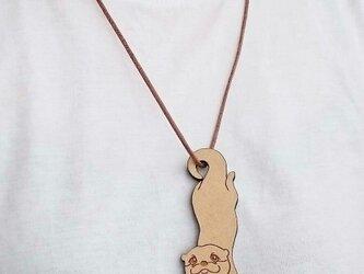 木製カワウソペンダント(バッグチャーム)紐~薄茶の画像