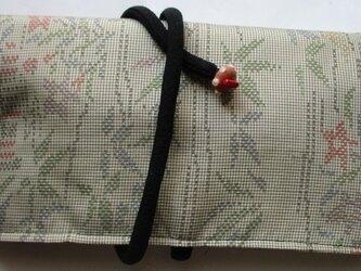 送料無料 色大島紬の着物で作った和風財布・ポーチ 3139の画像
