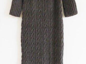 sale!手編みニットマキシワンピース 上質100%ウール アランケーブル編み グレーの画像