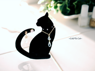 黒猫1のアクセサリー掛け ジュエリーセット(ピアス/ネックレス)イベント什器や、ジュエリーを飾ってプレゼントにもどうぞ♪の画像