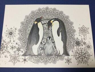 原画 肉筆 一点もの ボールペンアート  ペンギン ペンギンの絵  百貨店作家 人気 ボールペン画 絵画の画像