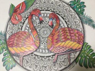 原画 肉筆 一点もの ボールペンアート  フラミンゴ フラミンゴの絵  百貨店作家 人気 ボールペン画 絵画の画像