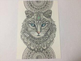原画 肉筆 一点もの ボールペンアート  ネコ 猫 ねこ  百貨店作家 人気 ボールペン画 絵画の画像