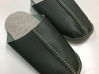 手縫いで仕上げたルームシューズ・ダークグリーンL(24.0~25.5cm対応)の画像