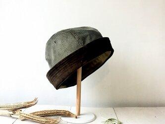 HELMA HAT | CORDUROY×SUEDE KHAKIの画像