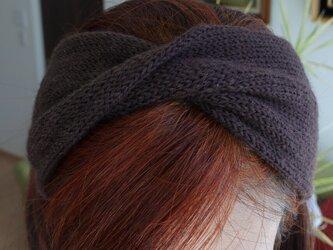 ウールのヘアバンド ターバン 手編み こげ茶ブラウン 薄手タイプの画像