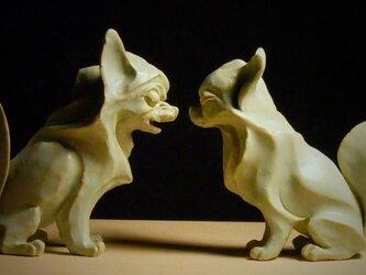 陶塑 2018年「干支(戌)」作品 チワワ 阿吽(あうん)狛犬 限定2点セットの画像