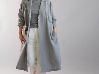 【wafu】暖リネン羽織  チェスターコート ドルマンスリーブ ロング丈 長袖 ポケット付き /グレー b23-30の画像