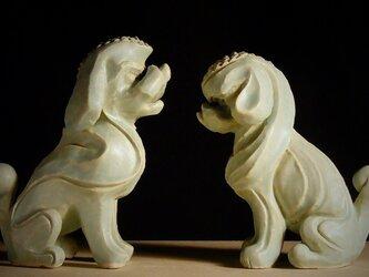 陶塑 2018年「干支(戌)」作品 トイプードル 阿吽(あうん)狛犬 限定2点セットの画像
