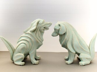 陶塑 2018年「干支(戌)」作品 レトリバー 阿吽(あうん)狛犬 限定2点セットの画像