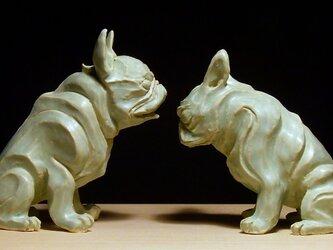 陶塑 2018年「干支(戌)」作品 フレンチブルドッグ 阿吽(あうん)狛犬 限定2点セットの画像