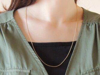 14kgf/シンプルなゴールドロングネックレス:60cmの画像