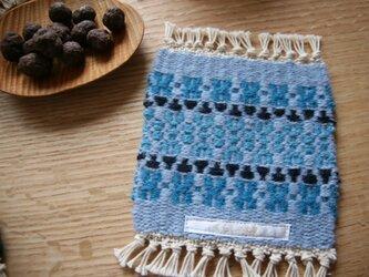 北欧手織りのウールコースター ローゼンゴングlight blueの画像