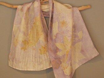 ボタニカルプリントログウッド写し染シルクショートスカーフの画像