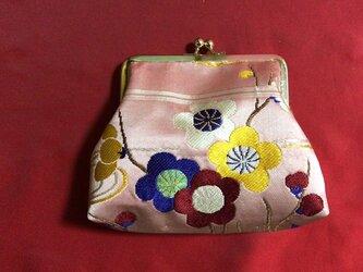 がまぐち・角型  桃色繻子帯地 花柄の画像