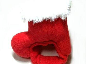 クリスマスブーツの帽子(赤)【S/M/L】の画像